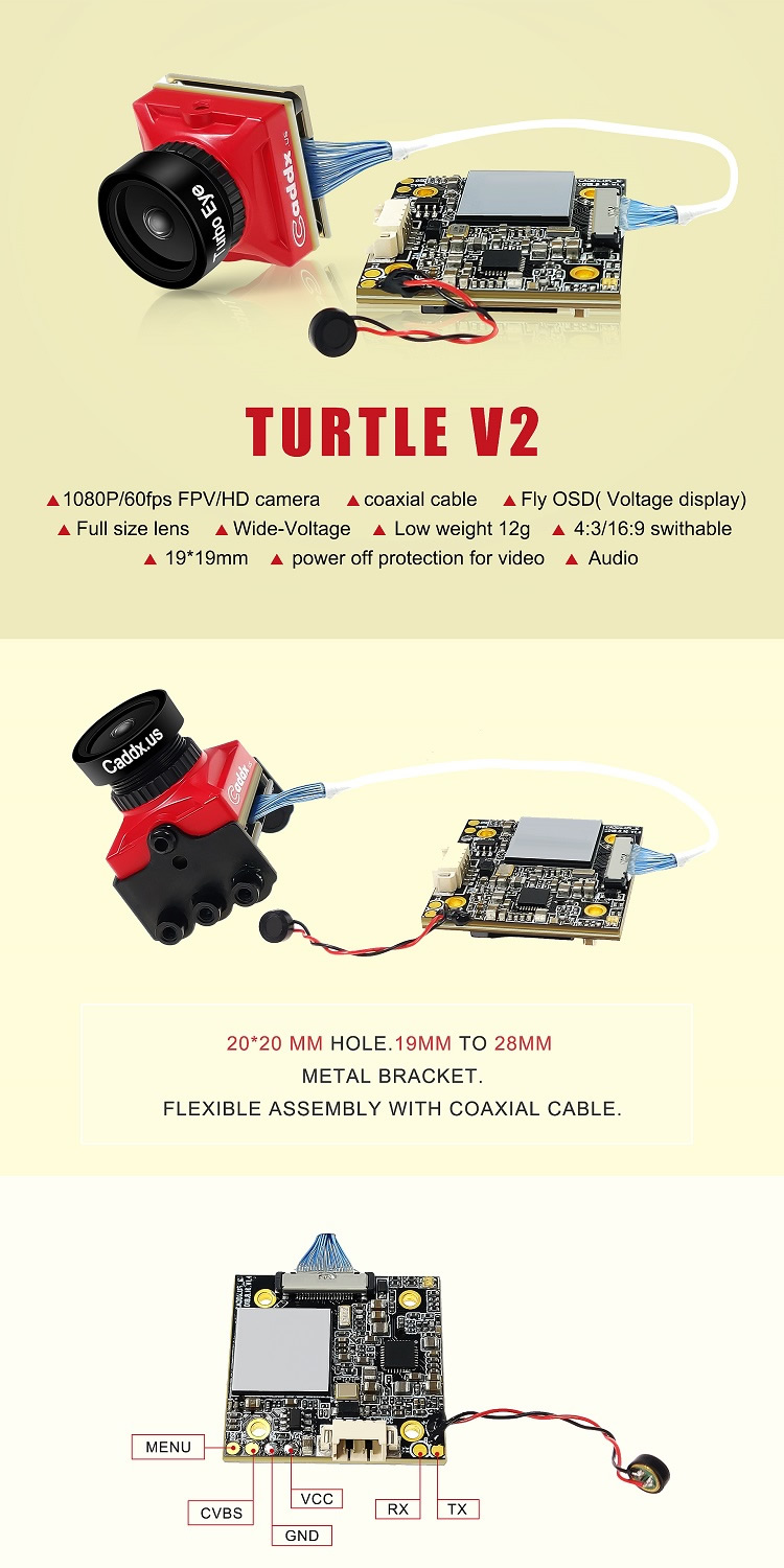 Caddx Turtle V2 – 1080p 60fps Super WDR Mini HD FPV Camera OSD Mic for RC Drone-HBFPV Official Site