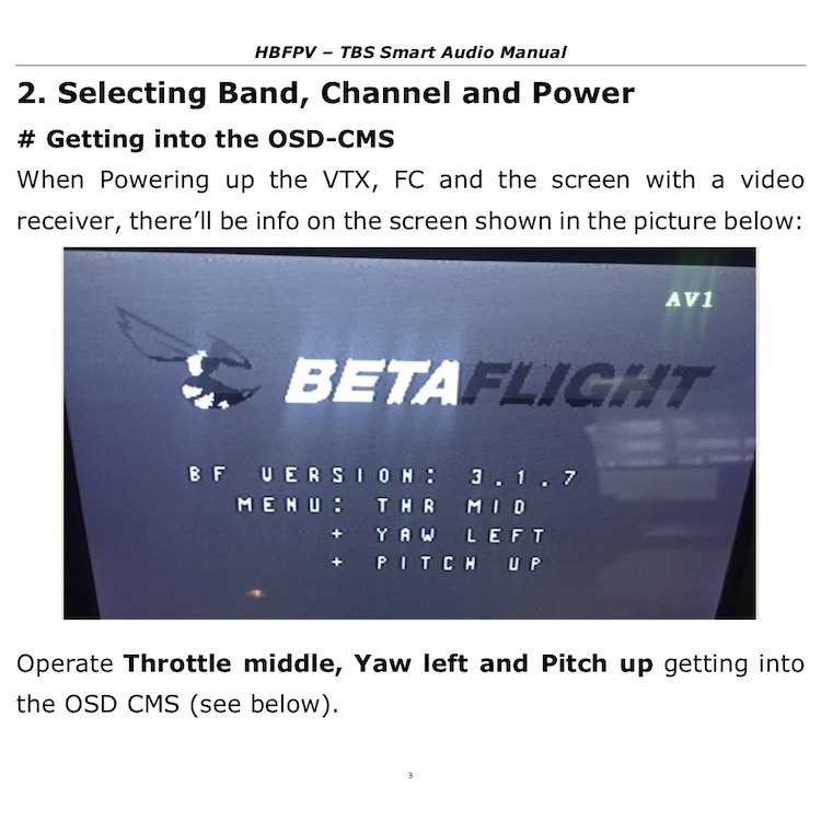 BetaFlight OSD Setting for VTX with TBS Smart Audio Protocol-HBFPV Official Site