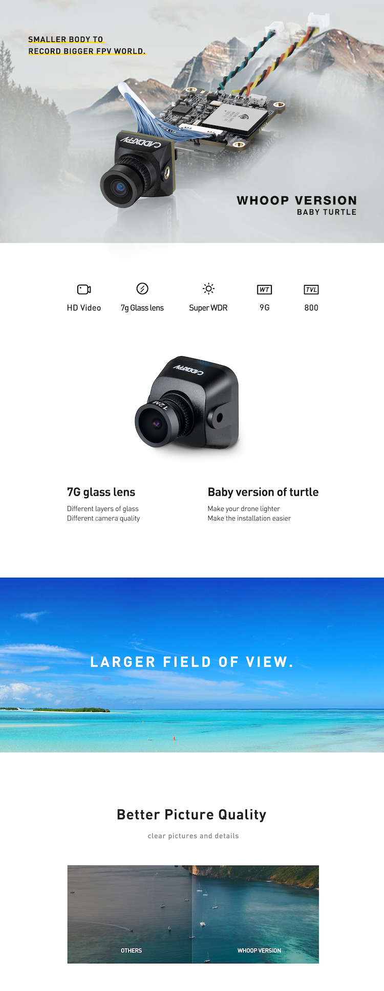 Caddx Baby Turtle: HD DVR Camera 1080P 800TVL 64G TF Card
