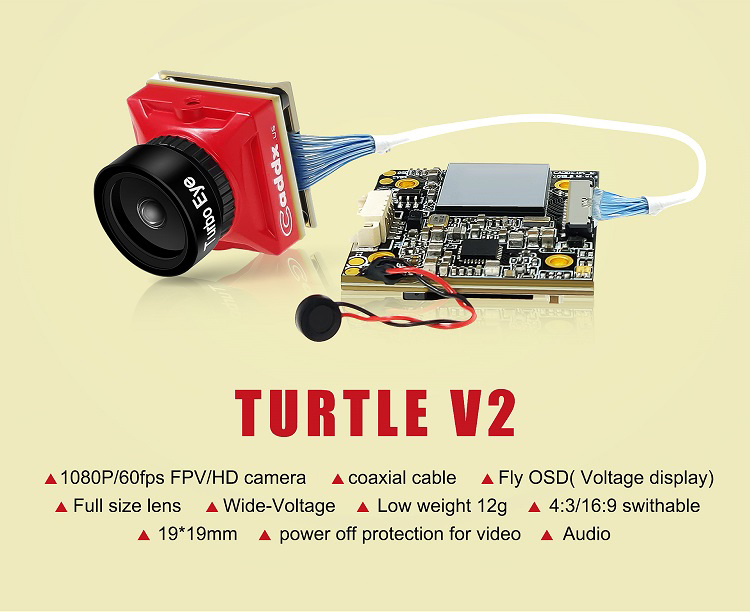 [ Caddx Turtle V2 ] 1080p 60fps Super WDR Mini HD FPV Camera OSD Mic for RC Drone