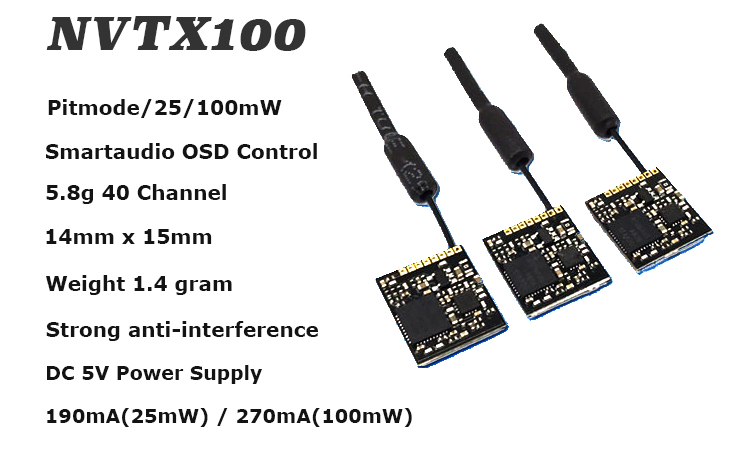 [ NVTX100 ] 5.8GHz VTX 40CH 25/100mW Switchable FPV Transmitter Support OSD/Pitmode/Smartaudio